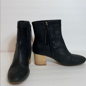 Toms Vegan Leather Black Heeled Boots size 10